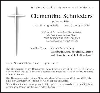 Zur Gedenkseite von Clementine