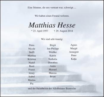 Zur Gedenkseite von Matthias