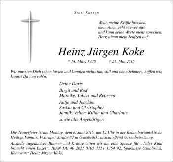 Zur Gedenkseite von Heinz Jürgen