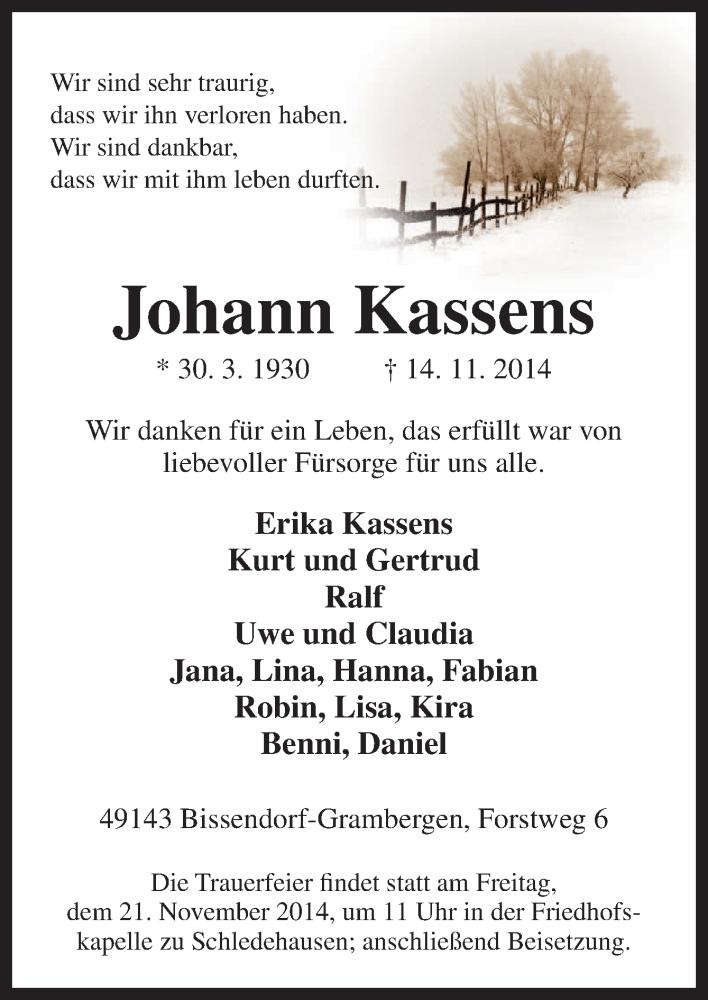Traueranzeigen von Johann Kassens | noz Trauerportal