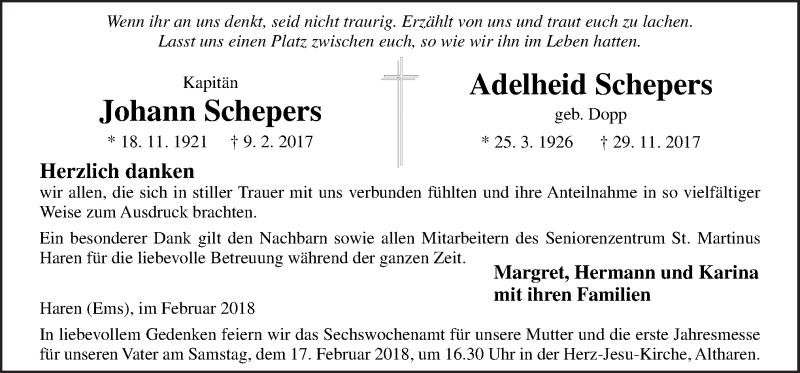 Traueranzeigen von Johann und Adelheid Schepers | noz