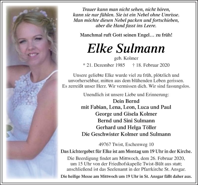 Traueranzeigen von Elke Sulmann | noz Trauerportal